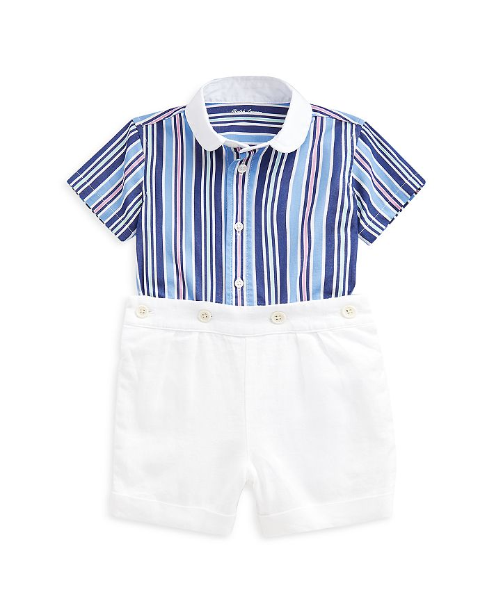 Ralph Lauren POLO RALPH LAUREN BOYS' STRIPED COTTON SHIRT & LINEN SHORTS SET - BABY