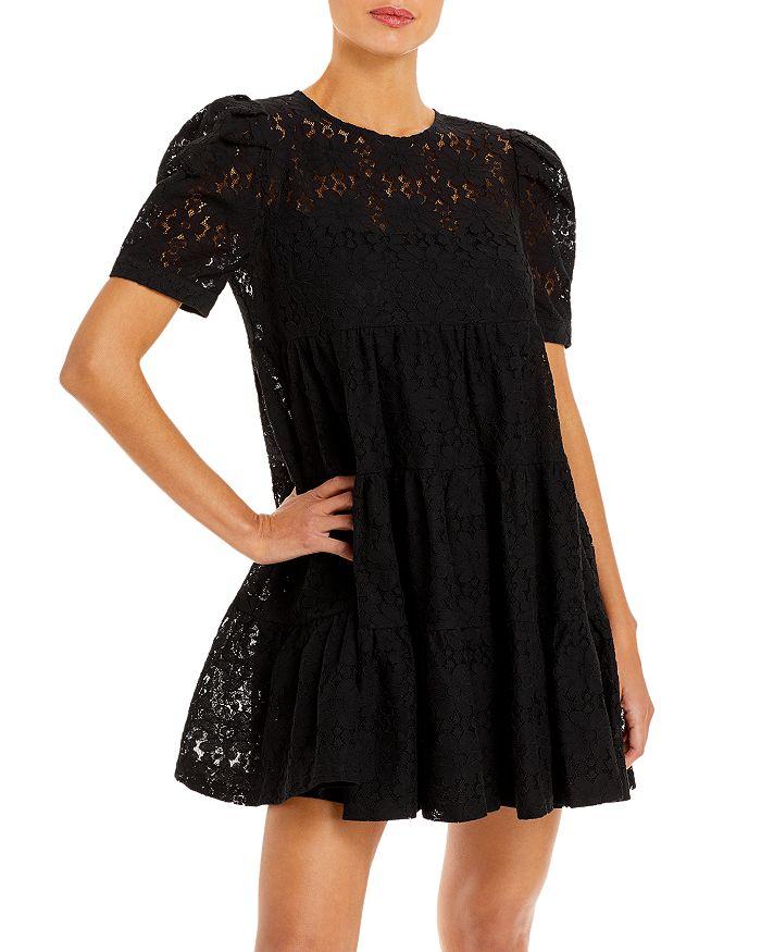 AQUA - Short Sleeve Floral Lace Tiered Mini Dress - 100% Exclusive