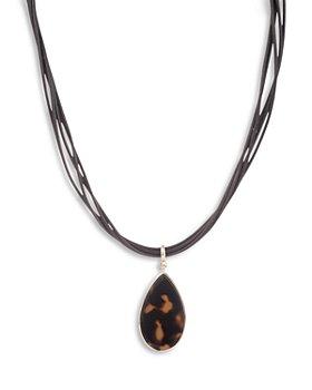 "Ralph Lauren - Tortoise Teardrop Multi Cord Pendant Necklace, 16""-19"""