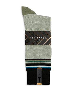 Ted Baker - Striped Khaki Socks