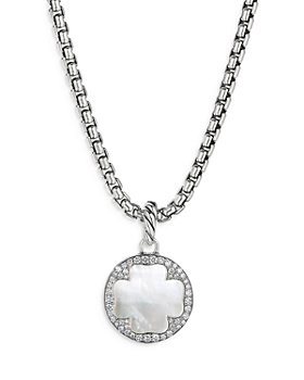David Yurman - Sterling Silver DY Elements® Clover Disc Pendant with Mother-of-Pearl & Diamonds