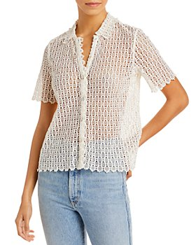 Rebecca Taylor - Pina Embroidered Lace Button Front Shirt