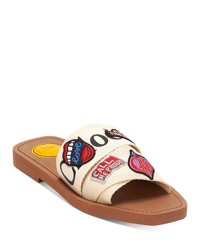 Chloé Canvases WOMEN'S WOODY PATCHWORK LOGO SLIDE SANDALS