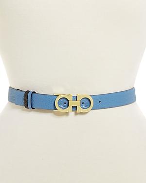 Salvatore Ferragamo Women's Double Gancini Buckle Reversible Leather Belt