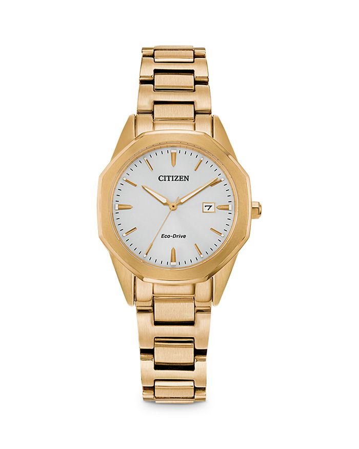Citizen Eco-drive Women's Corso Gold-tone Stainless Steel Bracelet Watch 28mm In White