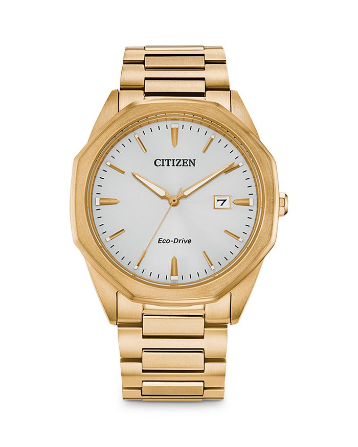 Citizen Eco-drive Men's Corso Gold-tone Stainless Steel Bracelet Watch 41mm In White