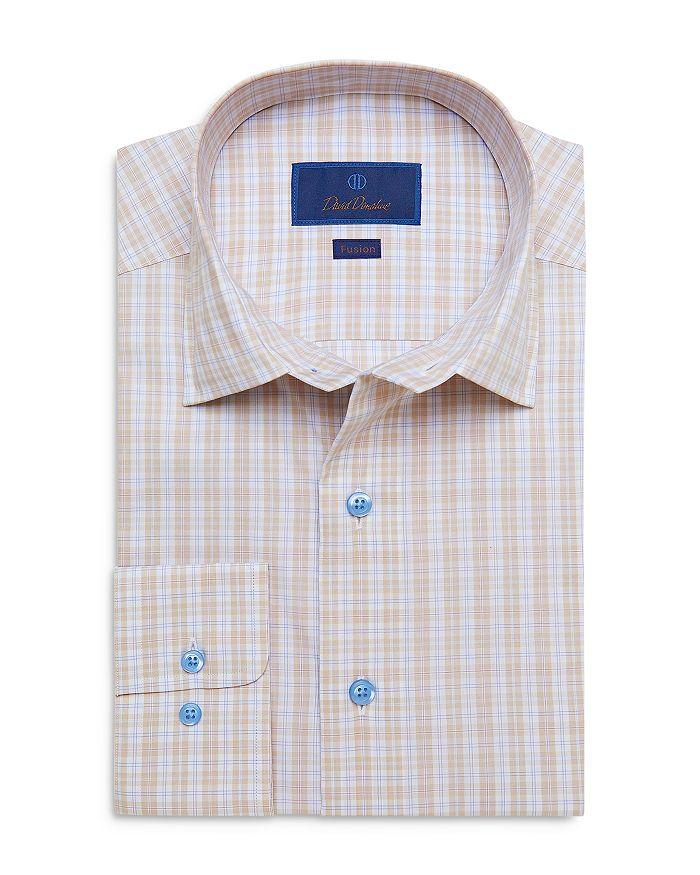 David Donahue Cottons FUSION COTTON PLAID REGULAR FIT DRESS SHIRT
