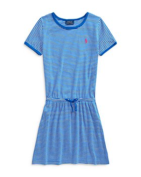 Ralph Lauren - Girls' Tie Front Short Sleeve Cotton Dress - Little Kid, Big Kid