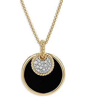 "David Yurman - 18K Yellow Gold DY Elements® Black Onyx, Mother-of-Pearl & Diamond Convertible Pendant Necklace, 18"""