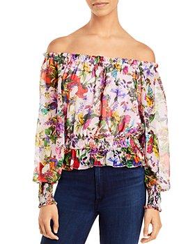 AQUA - Floral Off The Shoulder Top - 100% Exclusive