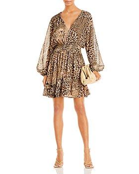 AQUA - Leopard Print Smocked Waist Dress - 100% Exclusive