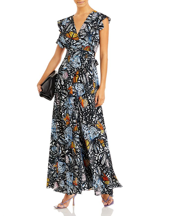 AQUA - Butterfly Print Maxi Dress - 100% Exclusive