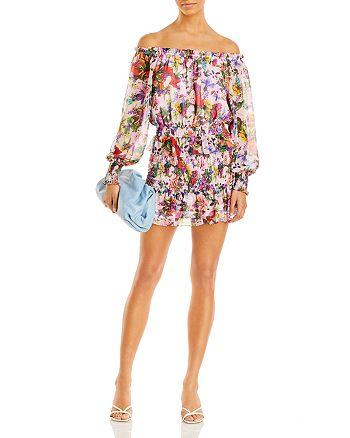 AQUA - Floral Off The Shoulder Top & Smocked Mini Skirt - 100% Exclusive