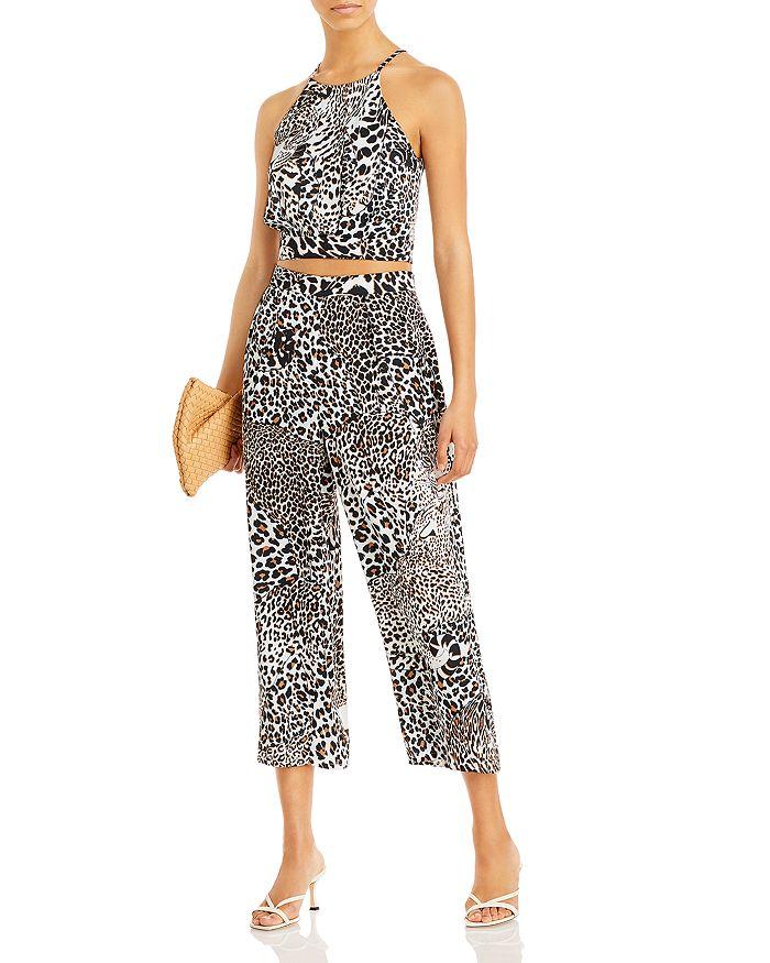 AQUA - Leopard Print Halter Top & Cropped Pants - 100% Exclusive