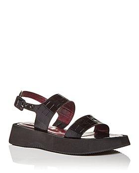 STAUD - Women's Nicky Croc Embossed Slingback Platform Sandals