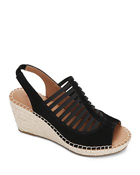Gentle Souls by Kenneth Cole - Women's Charlie Elastic Slingback Suede Espadrille Wedge Sandals