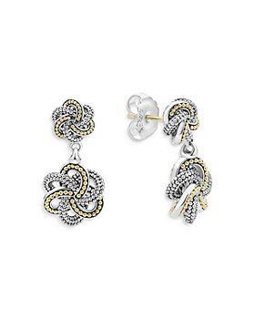 LAGOS - Sterling Silver & 18K Yellow Gold Love Knot Drop Earrings