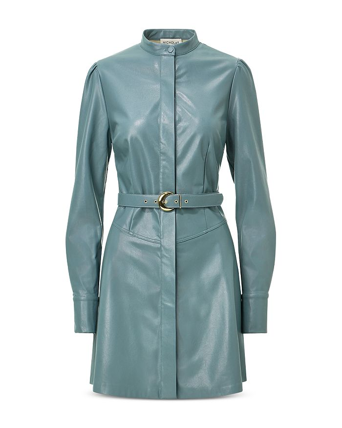 Nicholas ALEXIS FAUX LEATHER BELTED DRESS