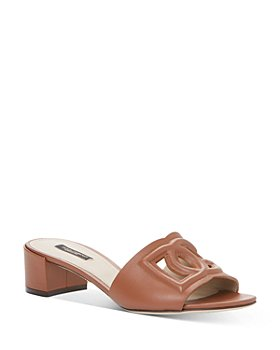 "Dolce & Gabbana - Women's Almond Toe Monogram 1.6"" Heel Slide Sandals"