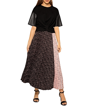 Dot Print Blocked Pleated Skirt (45% off)