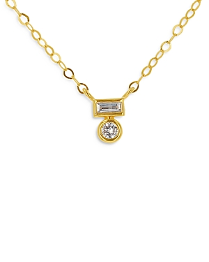 Moon & Meadow 14K Yellow Gold Round and Baguette Diamond Pendant Necklace, 18 - 100% Exclusive