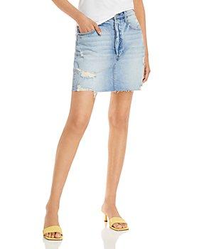 AQUA - Destructed Cut Off Denim Mini Skirt - 100% Exclusive