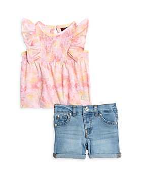 7 For All Mankind - Girls' Flutter Top & Shorts Set - Baby