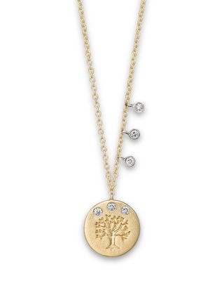 DIAMOND AND 14K YELLOW GOLD TREE OF LIFE NECKLACE, 16