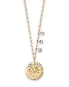 """Meira T - Diamond and 14K Yellow Gold Tree of Life Necklace, 16"""""""