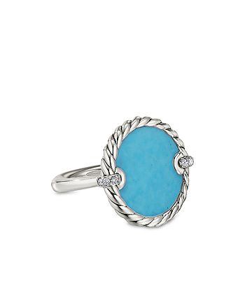 David Yurman - Sterling Silver DY Elements® Ring with Turquoise & Diamonds