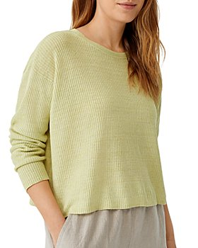 Eileen Fisher - Cropped Ribbed Linen Sweater