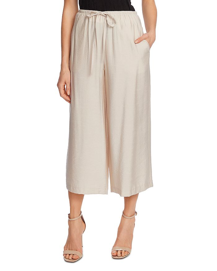 Vince Camuto Cropped Wide Leg Drawstring Pants In Cool Beige