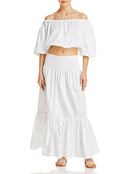 Tory Burch - Cropped Off-the-Shoulder Blouse & Convertible Skirt/Dress Swim Cover-Up