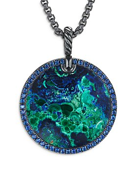 David Yurman - Sterling Silver DY Elements® Artist Series Disc Pendant with Azurite & Blue Sapphires