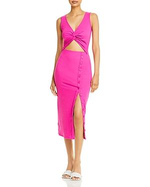 Ribbed Cutout Midi Dress