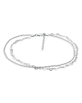AQUA - Double Row Heart Link & Diamond Cut Rope Chain Ankle Bracelet in Sterling Silver - 100% Exclusive