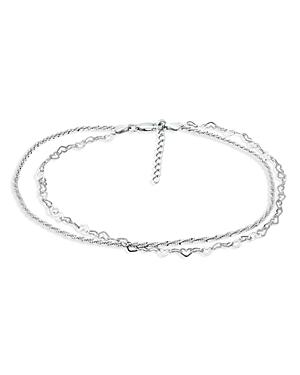 Double Row Heart Link & Diamond Cut Rope Chain Ankle Bracelet in Sterling Silver