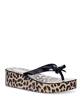 kate spade new york - Women's Rina Bow Accent Animal Print Platform Flip-Flops