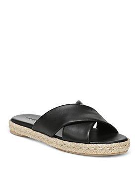 Vince - Women's Selene Crossover Leather Espadrille Slide Sandals