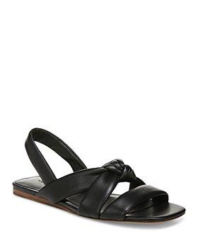 Vince - Women's Elm Square Toe Black Knotted Leather Slingback Sandals