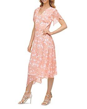 DKNY - Flutter Sleeve Faux Wrap Midi Dress