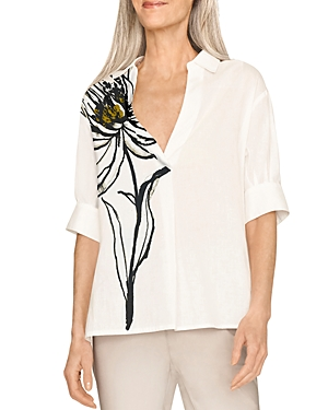 Front Floral Print Short Sleeve Shirt