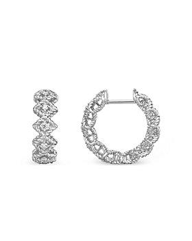 Roberto Coin - 18K White Gold Roman Barocco Diamond Hoop Earrings