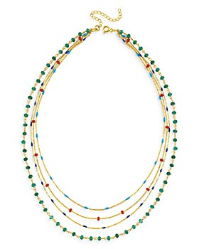 "Maison Irem - 18K Gold-Plated Neckmess Layered Necklace, 14""-17.5"""