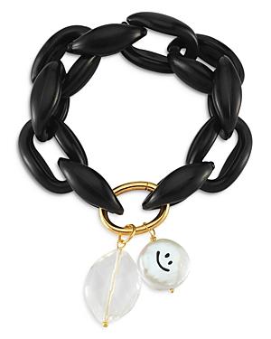 Smiley Crystal & Cultured Freshwater Pearl Link Bracelet