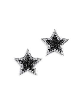 Bloomingdale's - Black & White Diamond Star Stud Earrings in 14K White Gold, 0.55 ct. t.w. - 100% Exclusive