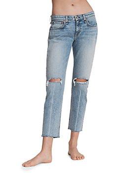 rag & bone - Dre Low-Rise Ripped-Hem Jeans in Stella W/ Holes