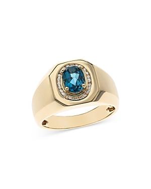 Bloomingdale's London Blue Topaz & Diamond Men's Ring in 14K Yellow Gold - 100% Exclusive