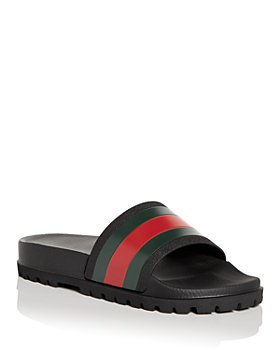 Gucci - Men's Web Signature Stripe Lug Sole Slide Sandals