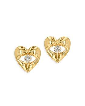Moon & Meadow - 14K Yellow Gold Diamond Accent Evil Eye Heart Stud Earrings